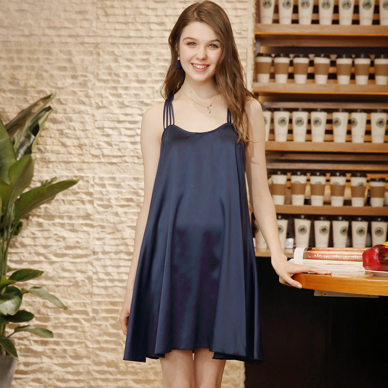 SSH0159 2018 New Women Sexy Nightgown Sleepshirts Ladies Backless Nightdress Sleepwear Female Soft Satin Silk Lingerie Nightwear