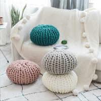 Теплая подушка в скандинавском стиле, вязаная Подушка с бантиком, одноцветная детская подушка для спокойного сна, мягкая детская подушка дл...