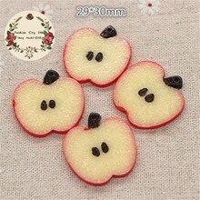 red apple slice. 10pcs kawaii resin imitation red apple slice miniature food art diy crafts decoration,29*30mm