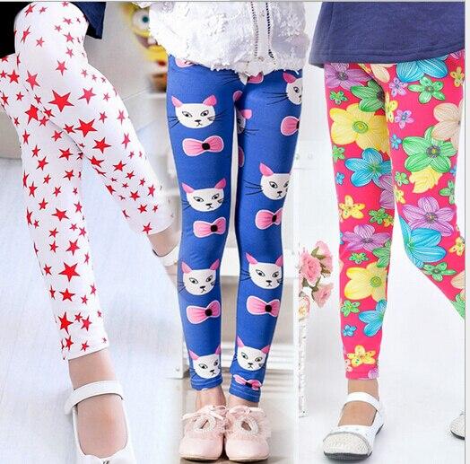 Модные штаны с цветочным принтом для девочки; детские штаны для весны/осени/лета; детские леггинсы; обтягивающие леггинсы для девочки