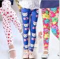 Moda Flor de La impresión de la muchacha de las bragas pantalones de los niños para la primavera verano otoño niños de las polainas polainas de las muchachas flacas