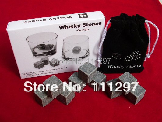 Whisky Stones, 9pcs/set with delicate box+velvet bag whiskey rock stone ,,beer stone