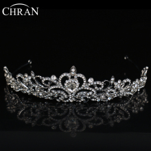 CHRAN Heart Waterdrop Shaped Crown Wedding Hair Accessories Silver Color Crystal Bridal Tiaras Crown Women Jewelry Queen Crowns