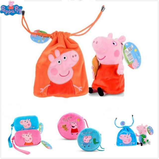 100% Genuine Peppa Pig 2019 round Square bag peppa George teddy bear Dinosaur cute cartoon purse Plush bag children toy