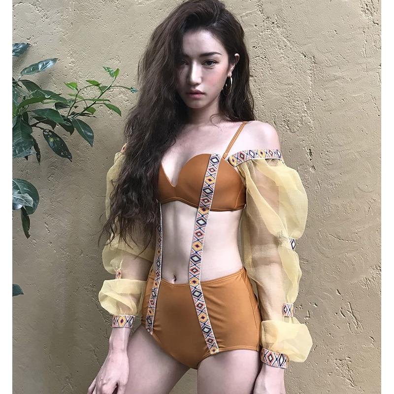 One Piece Swimsuit Swimsuits Womens Swim Suit Wear High Waist 2018 Korea Hubble Bubble Long Sleeve Triangle Biquini May Female