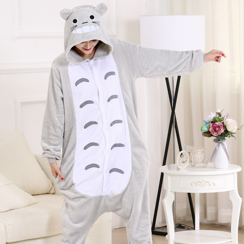 Totoro Onesies For Adults Women Men Animal Pajamas Winter Cartoon One-Piece Pijamas Halloween Cosplay Party Costume XXL Size