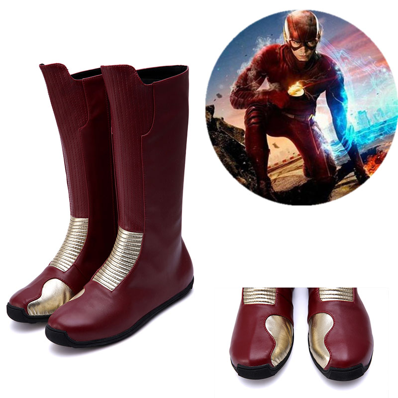 Justice League The Flash Barry Allen Cosplay Boots Shoes Custom Made