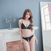 Hot New Sexy Transparent Black Lingerie Sets Female Open Crotch Panties Skimpily Lace Underwear Charming Night