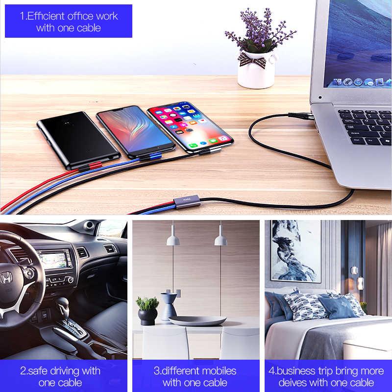 TOTU 3 в 1 USB кабель для iPhone X XS Max 7 8 Micro usb type C кабель для samsung 3.4A Быстрый кабель для зарядного устройства Шнур