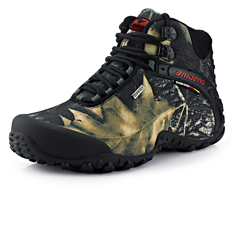 Large size men's leaf camouflage waterproof boots autumn winter outdoor sports hiking climbing ankle shoes sneakers rubber sole or fabric camouflage leaf headgear