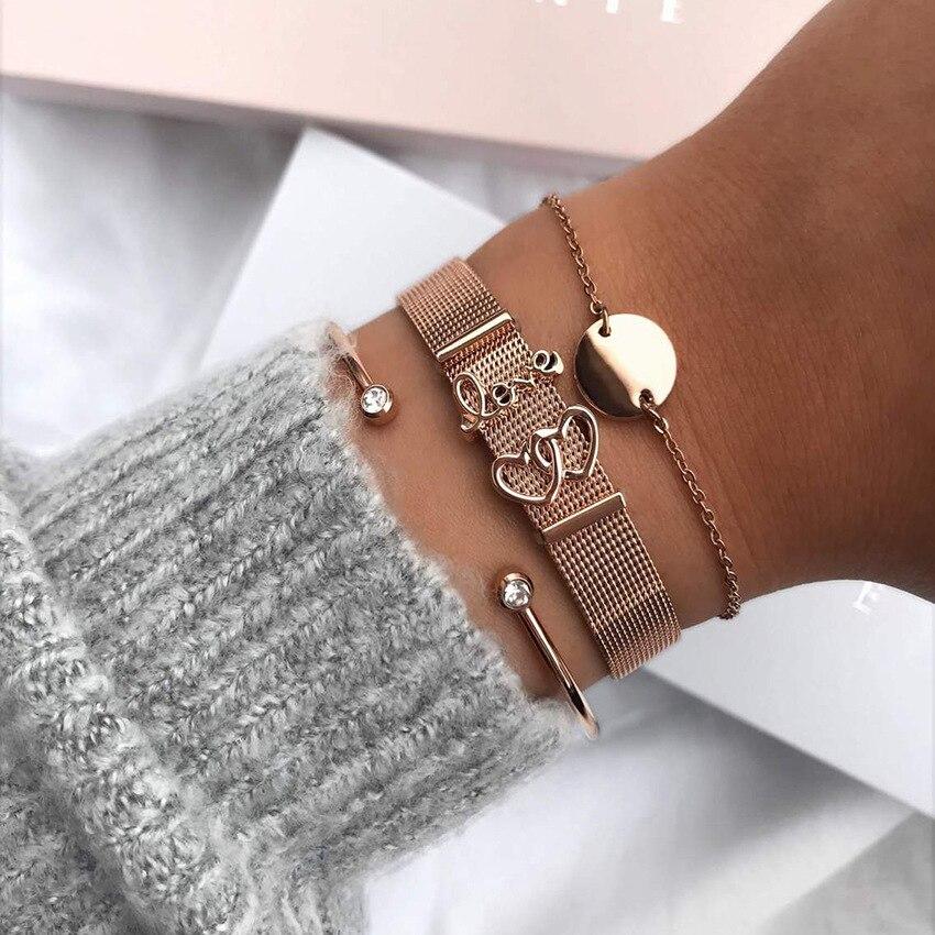 a5116cbeccdb Moda europea par amor pulsera de la marca de pulsera de acero inoxidable pulsera  para mujer de los hombres regalo del Día de San Valentín.