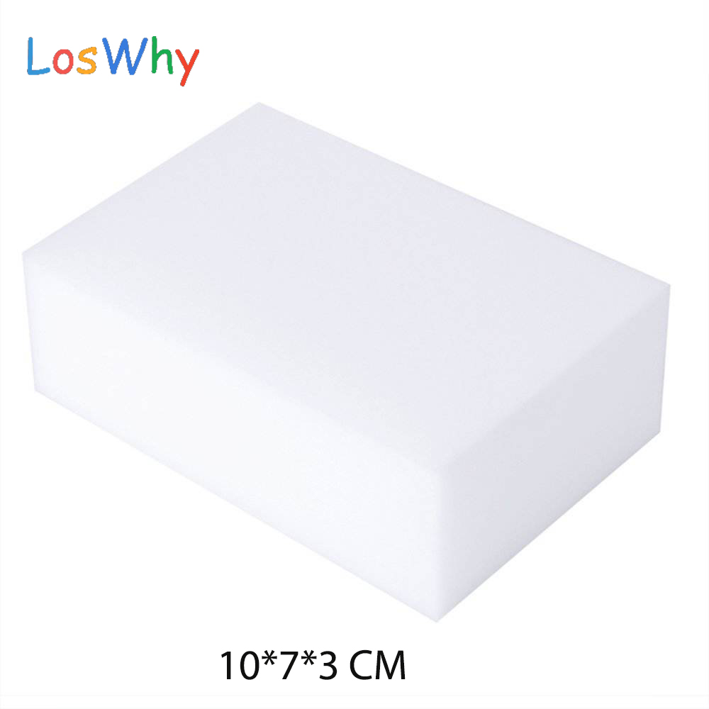 Genuine LosWhy 100Pcs/Lot White Melamine Sponge Kitchen Bathroom Clean Magic Sponge Eraser Nano Wholesale Dish Washing 10*7*3CM