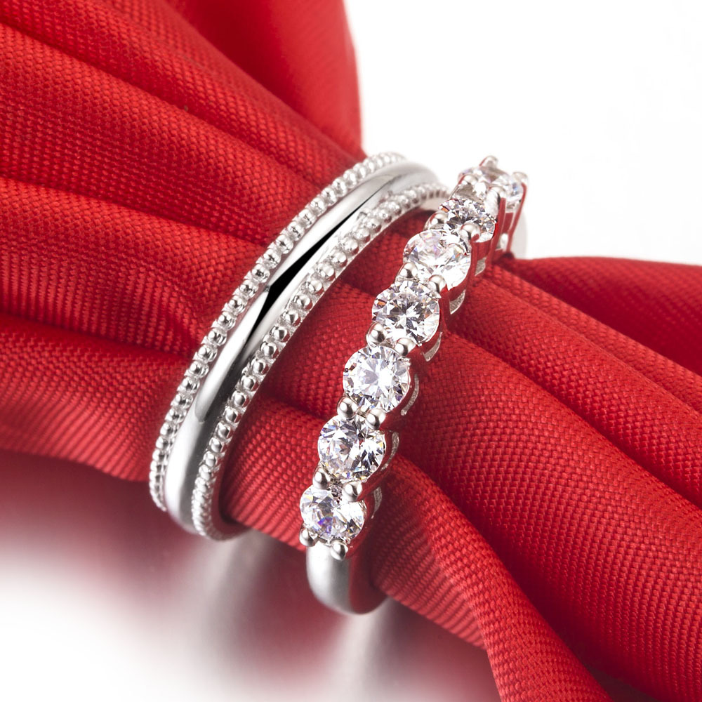 18k White Gold Plated Wedding Rings For Couples