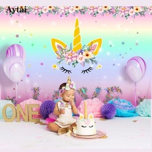 Aytai Unicorn Party Háttér Unicorn Photo Backdrop Baby Shower Rainbow Születésnapi témájú party DIY Dekoráció 210 * 150cm