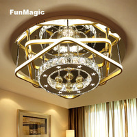 Post-modern Star Ring Romantic Diamond Crystal Bright LED Ceiling Lights Living Room Bedroom Round Lighting Surface Mount Lamp