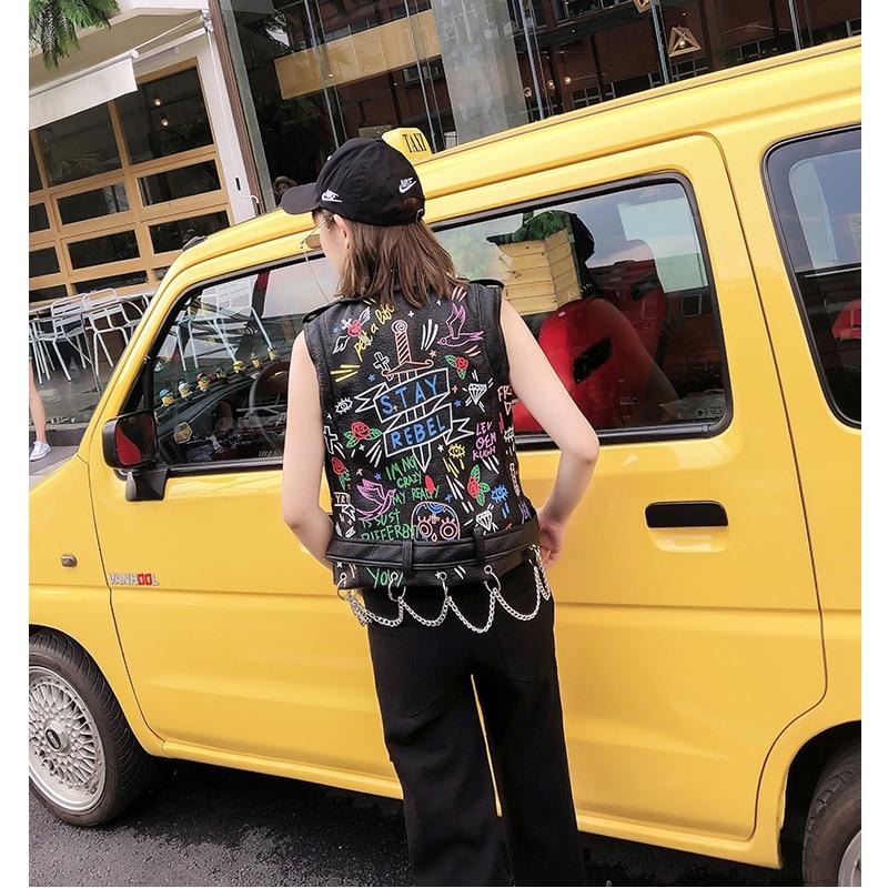 Lordld noir en cuir gilet femmes moto Streetwear Pu cuir veste sans manches femme Steampunk imprimé Biker gilet - 5