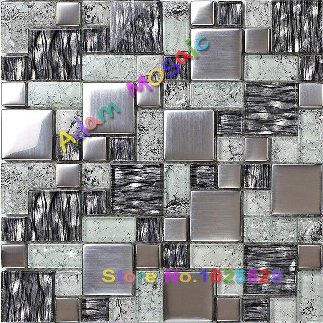 Black And White Mosaic Tile Kitchen Backsplash Art Design Brushed Stainless Steel Tiles Metallic Gl Deco Mesh Bathroom Wall