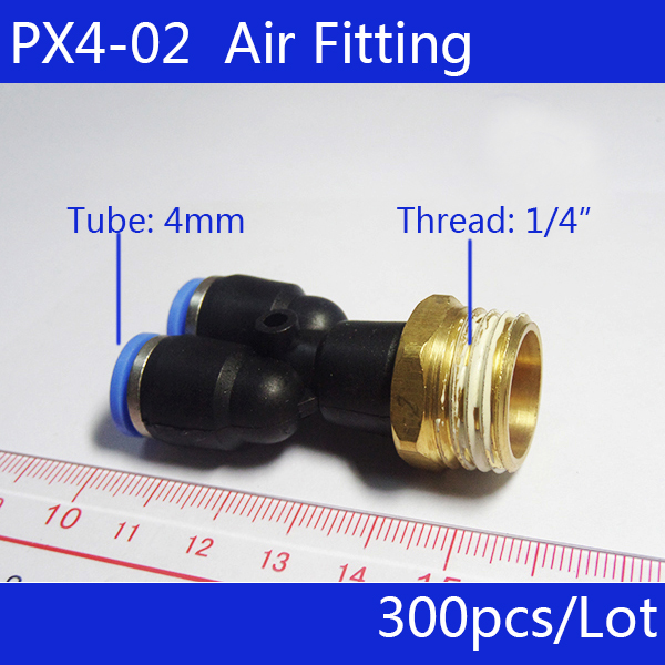 free shipping 300Pcs Air Pneumatic 1/4 PT to 4mm Y Shaped Push in Connectors Quick Fittings PX4-02 10 pcs air pneumatic 3 8 pt to 10mm y shaped push in connectors quick fittings