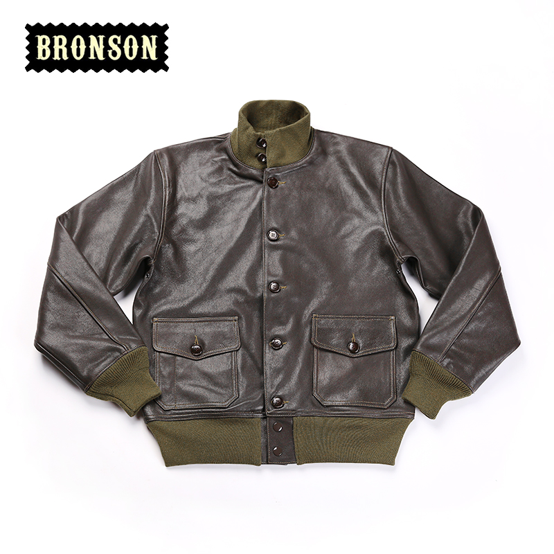 A1 Read Description ! Asian Size Bronson US Air Force A1 Genuine Goat Skin Vintage Leather Jacket