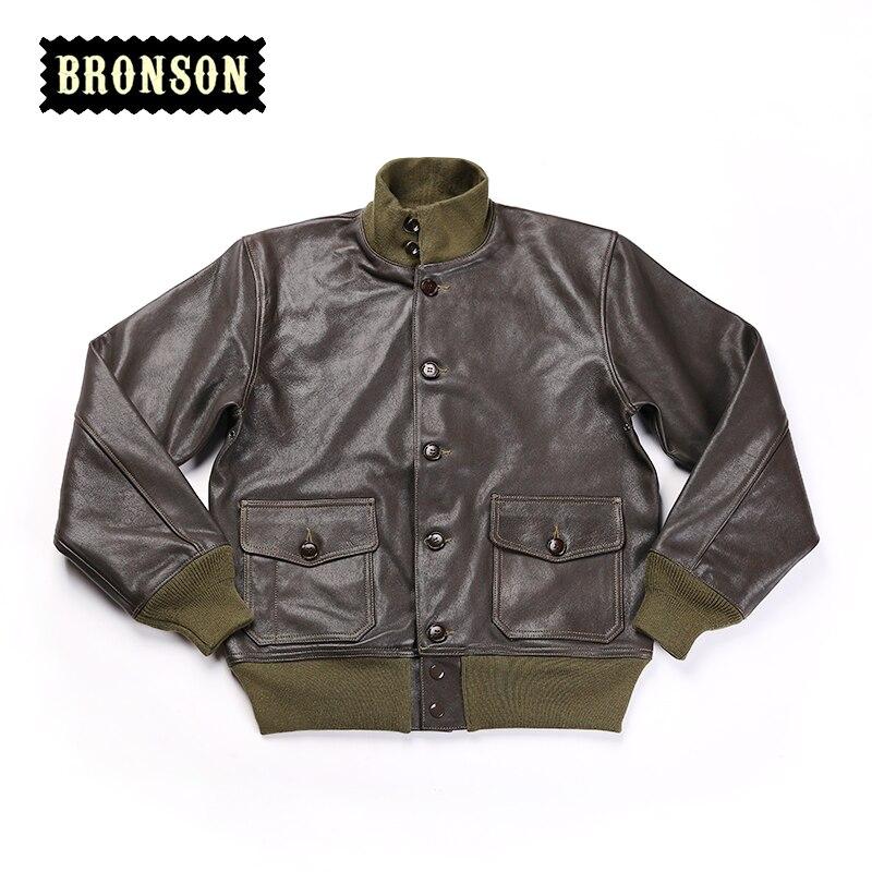 Leggere la Descrizione! Formato asiatico US air force A1 pelle di capra giacca di pelle vintage