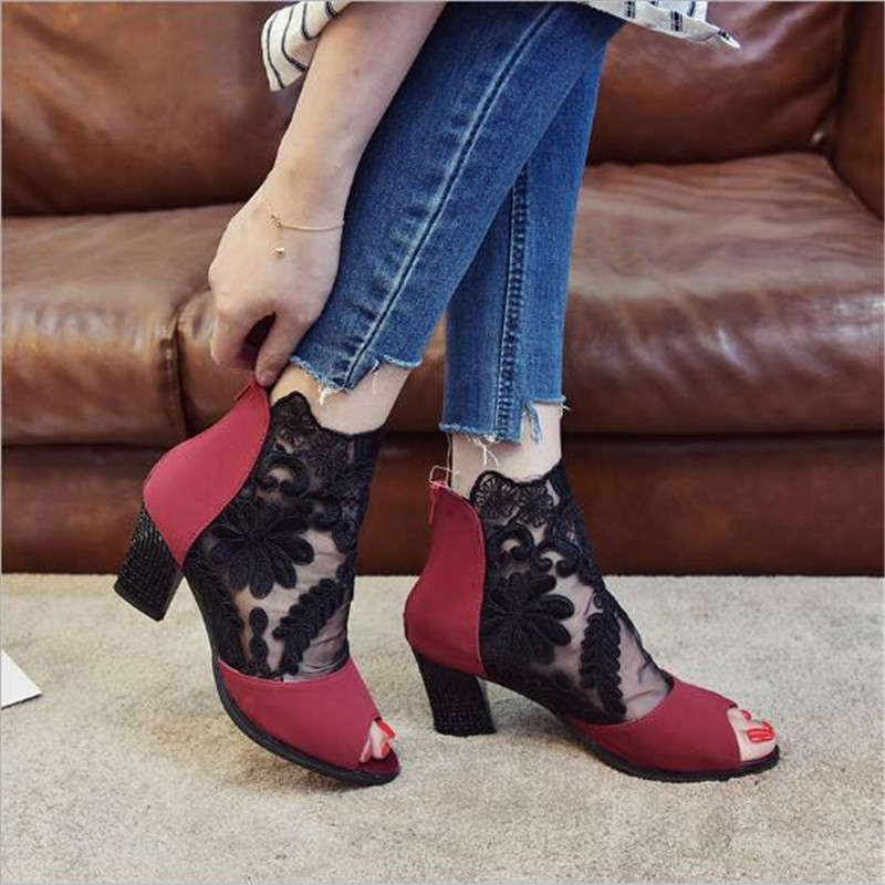 New Style Roman Sandals Women Pumps European Booties Ladies Sexy Hollow Cross Lace Up Rivets Stiletto High Heels Shoes