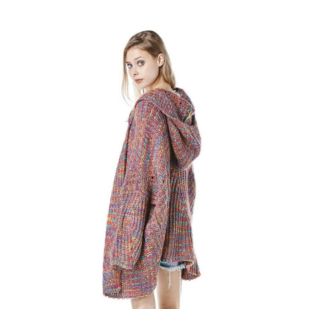 Rainbow Long Cardigan Hooded Sweater Women Harajuku Kawaii Tops Knitted Pull Sweaters Cardigans Coat Jumper Oversized Plus Size
