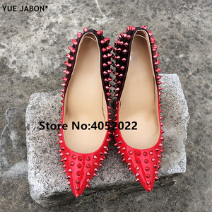 Image 3 - YUE JABON New Shoes Spike Heels Red Patent Leather Stiletto Pumps Shoes Rivets Studs Lady Thin High Heels Shoes Party Dress Shoe