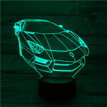 3D Acrylic Color Changing Lamp Fascinating Car Shaped 3D Visual Led Night Light Usb or Battery Operation Touch Sensor Nightlight цена в Москве и Питере