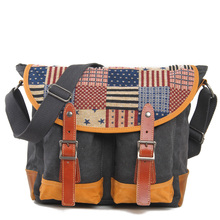 Japan and Korea Men and Women Vintage College shoulder bag Casual Crossbody Canvas Bag 6001