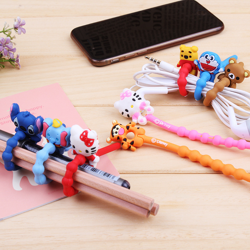 Wholesale New 500pcs/lot Lovely Cartoon Cable Winder Headphone Earphone Cable Wire Organizer Cord Holder Power cord retention