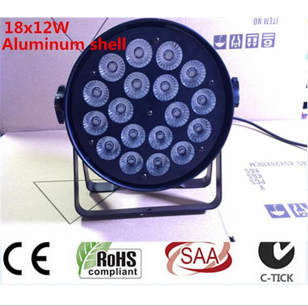 Aluminum shell 18x12W RGBW Led Par Light DMX Stage Lights Business Lights Professional Flat Par Can for Party KTV Disco DJ Lamp fast russia shipping 7x12w led par lights rgbw 4in1 flat par led dmx512 disco lights professional stage dj equipment