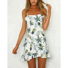 Yfashion Women Fashionable Pineapple Printing Dress Sexy Backless Beach Party Top Selling