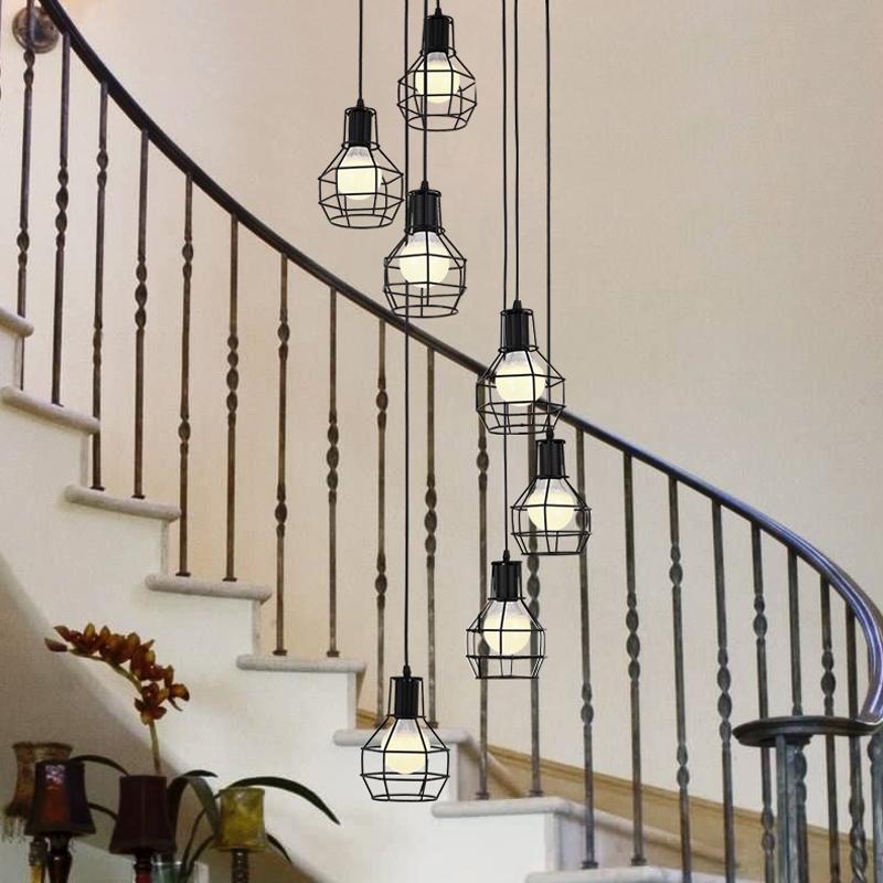creativa retro viento industrial espiral escalera colgante de luz de la lmpara villa saln cafetera