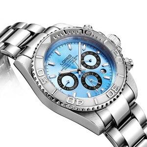 Image 4 - LOREO Mens Sport multifunción Dial banda de acero luminoso 200M impermeable automático relojes de pulsera mecánicos con mes, semana, fecha