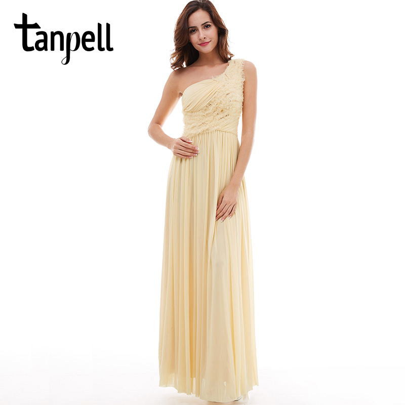 Tanpell one shoulder   evening     dress   champagne sleeveless draped floor length a line   dresses   women prom formal long   evening   gown