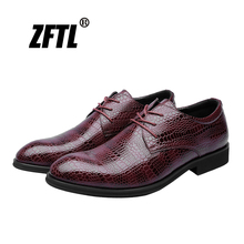 купить ZFTL New Men dress shoes male formal shoes business big size shoes British style crocodile pattern men's pointed casual shoes 91 онлайн