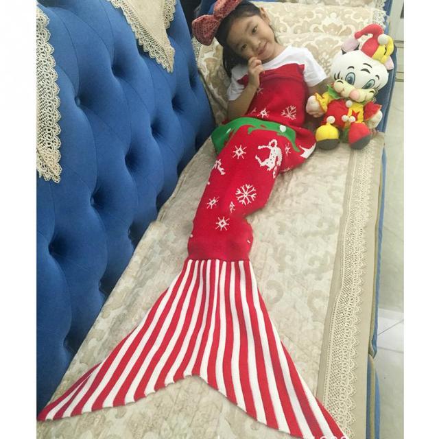 Navidad árbol tejido sirena sofá manta cubierta copos con ELK hecho ...