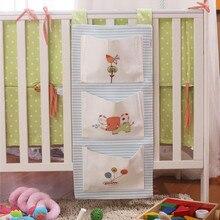 Baby Bed Bumper Multi-Function Crib Bumper Cartoon Print Crib Accessory Baby Bag For Baby Cribs