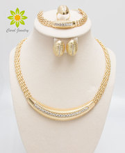 Gold Filled Popular Necklace Earrings Bracelet Ring African Fashion Women Big Jewelry Sets
