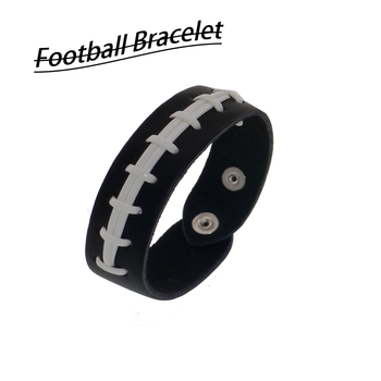 Leather Braid Football Charm bracelet  Brown white