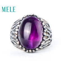 Natural amethyst 925 sterling silver rings for women,12X16mm oval cut gemstone,Retro style seaweed decoration Statement jewelry
