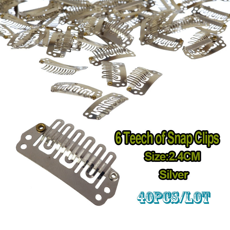 24mm Wig Clip U Clip Snap On Teeth Snap Clips With Silicone For Wig