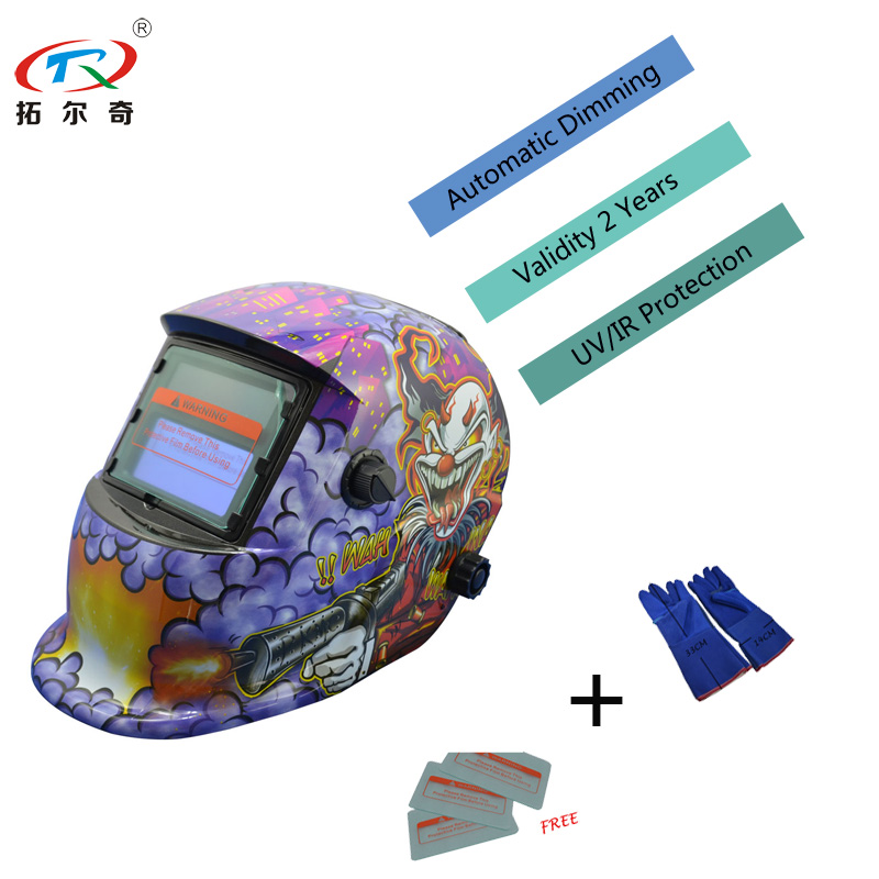 Fast Ship Mascara Welding Helmet Purple Clown Auto Darkening Chameleon Glass Mask Weld Cap Full Tool Long Life TRQ-HD03-2200DE