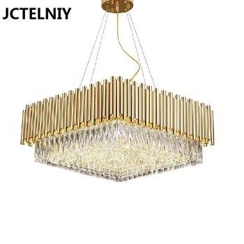Moderne K9 kristallen kroonluchter LED woonkamer goud vierkante kroonluchter deluxe crystal slaapkamer licht