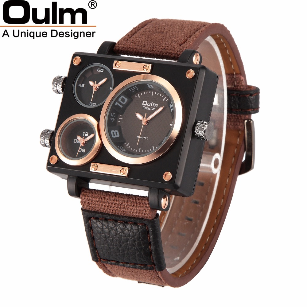OULM Luxury Brand Watches Men Fabric Canvas Strap Quartz Watch Clock Male Three Time Zone Sports