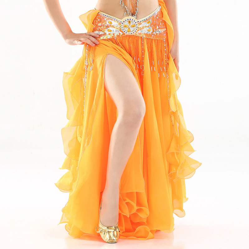 Image 2 - 2019 mulheres saia de dança do ventre fenda saias longas maxi  roupas de dança do ventre sexy oriental profissional saias de dança do  ventre 13 coresDança do ventre