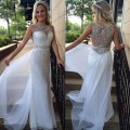 Long A Line Elegant Crystal Beaded Evening Dresses Sweetheart Sheer Illusion Sequins Skirt White Chiffon Tail Prom Party Gowns