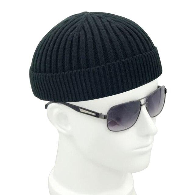 Vintage Fashion Men Knitted Hat Beanie Skull cap Sailor Cap Cuff Brimless  Black Navy Grey Retro 5987b78a476