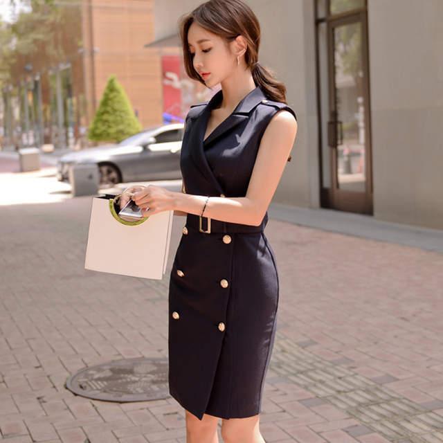 3bb98f80034 2018 Women Summer Office Lady Belted Vestidos Sleeveless Work Wear Slim  Double Button Sexy korean fashion