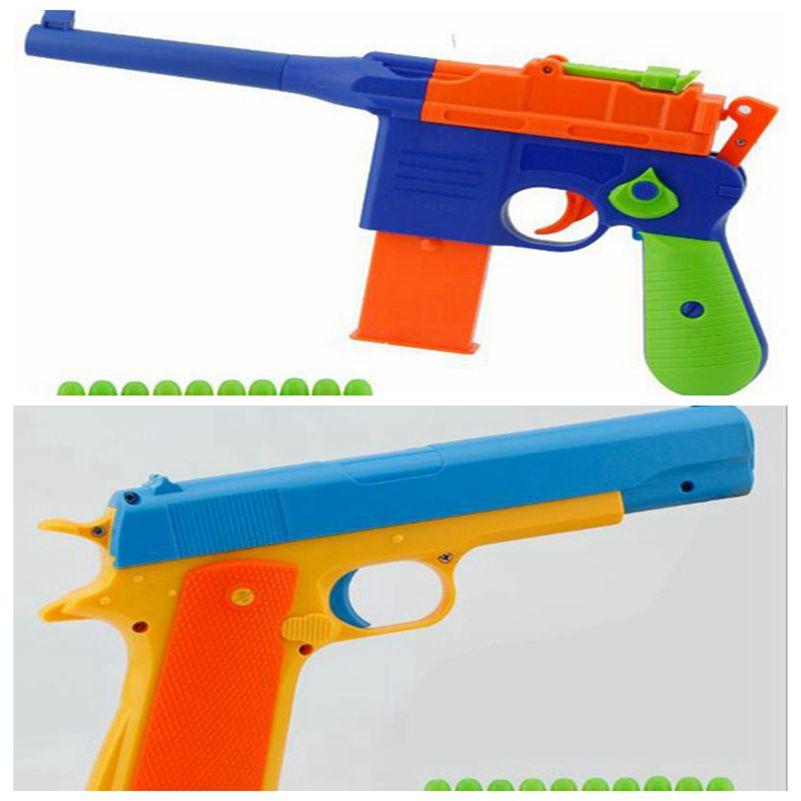 Children's Toy Guns Soft Bullet Gun Classic Pistol Plastic Revolver Kids Fun Outdoor Game Shooter Safety